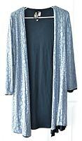 Marla Wynne Size S Blue Slit Sides Layered Cardigan Semi Sheer Overlay Top