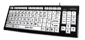 Accuratus Monster 2 - USB High Contrast Keyboard with Big Keys & 2 Port USB Hub
