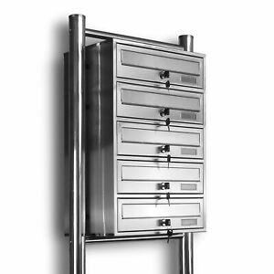 5er Kelvin® - Edelstahl Standbriefkasten Briefkasten Briefkastenanlage