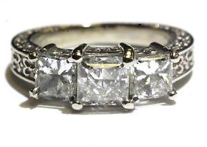 14k white gold 2.28ct princess diamond 3 stone ring 5.4g hand carved anniversary