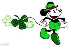 "6.5"" Disney mickey leprechaun clover  fabric applique iron on character"
