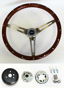 "1965-1966 Galaxie Wood Steering Wheel 15"" SS spokes High Gloss finish w/ Rivets"