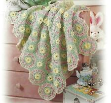 "Babies Crochet Blanket Pattern ""Floral Tiles"" 29x33""  716"