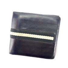 Bally Wallet Purse Bifold Black Grey Mens Authentic Used H418