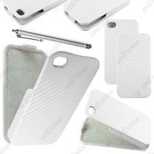 Etui Coque Housse a Rabat Revêtement Carbone Blanc Apple iPhone 4S 4 + Stylet