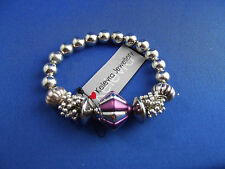New Beaded Bracelet Bangle by Kelevra Silver with Purple Lovely Gift