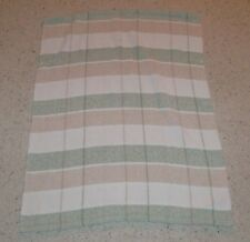 BRIGHT FUTURE UNISEX WHITE CREAM TAN BROWN GREEN CHENILLE PLAID STRIPE BLANKET