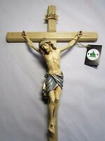 Large Wall Cross, Crucifix - Beautifully Hand Painted & Hand Carved - All Wood