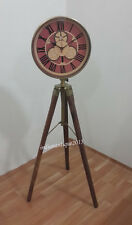 Collectible Decorated Old Brass Mechanical Table Clock On Wooden Tripod Stand