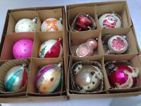 Variety of 12 Vintage Christmas Ornaments 12 Glass Ornaments