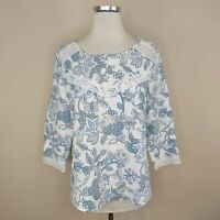 Elena Baldi Blue Floral Linen Blouse Top Crochet Trim S Small Made In Italy
