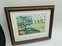 1978 CHARLOTTE HAWKINS GOLDEN GATE ARBORETUM SMALL WATERCOLOR PAINTING FRAME VTG