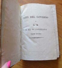 ANTICO LIBRO RACCOLTA DEGLI ATTI DEL GOVERNO RE DI SARDEGNA 1834 TORINO
