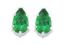 14Kt White Gold Emerald Pear Shape Stud Earrings