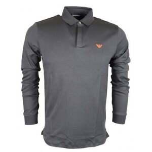 Emporio Armani Cotton Pique Dark Grey Long Sleeve Polo