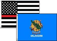 3x5 Usa Thin Red Line Oklahoma State 2 Pack Flag Wholesale Set Combo 3'x5'