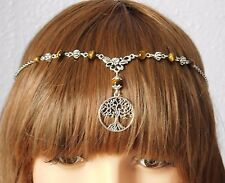 Tree of Life Tigers Eye Circlet Headdress Necklace Pendant Pagan Wicca