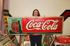 "Large Vintage 1937 Coca Cola Christmas Bottle Soda Pop 54"" Embossed Metal Sign"
