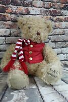 "FAO Schwarz 12"" Plush Teddy Bear Red Puffer Vest And Scarf NWT Holiday Stuffed"
