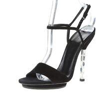 Womens GUCCI black suede ankle strap sandals sz. 6 (EU 36.5) MISSING JEWELS