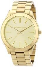 New Michael Kors Stainless Steel Gold Tone MK3179 Women's Slim Runway Watch