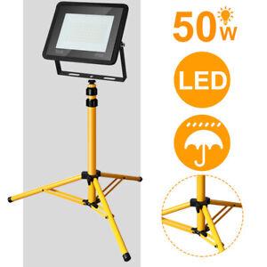 LED Baustrahler 50W Strahler Arbeitsstrahler mit Stativ Fluter Warmweiß