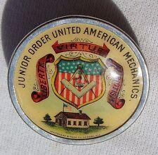 Antique Celluloid Whitehead Hoag Pin Junior Order United American Mechanics Vtg