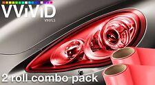 "VViViD Red Headlight Foglight Tint Vinyl 12"" x 24"" 2x Roll Pack DIY Wrap Sheet"
