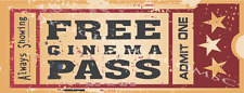 Free Cinema Pass Metal Signs, Home Theater Decor