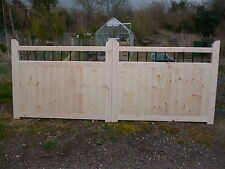 """Garden Entrance Driveway Gates 3ft 6""""  x 12ft With Black Powder Coated Spindles"""