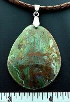 Green Jasper Unisex Pendant Necklace Leather Cord Sterling Silver Reiki Jewelry