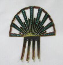 Antique Vintage Nouveau tortoise Mantilla fan hair comb green rhinestones