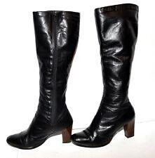 Vintage 70s Joyce Bolero Black Leather Womens Zip Chunky Heel Knee Hi Boots 4.5M