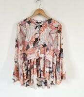 QUIZ ORIENTAL PRINT SHEER FRILL BLOUSE TOP SIZE 12