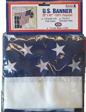 "28""x40"" ANNIN MADE USA BANNER 1"" POLE SLEEVE FLAG 28x40 polyester american G54"