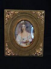 Antique c.1880 Victorian Minature Painting Portrait Green Velvet Frame - Signed