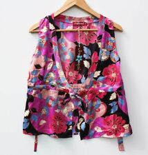 Hand-wash Only Floral Sleeveless 100% Silk Tops for Women