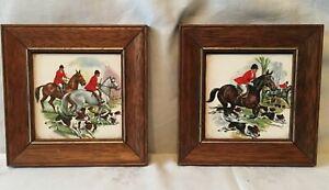 Pair Vintage Hunting Scene Framed Tiles
