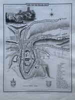 1804 Durham City Plan Original Antique Map by Cole & Roper