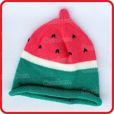 WATERMELON KNIT HAT BEANIE CAP-GREEN RIND+PINK FLESH+BLACK SEEDS-CUTE-FUNNY