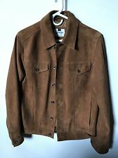 Topman Suede Leather Trucker Jacket - Size Small - Brown