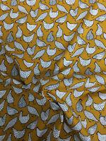 Ochre Funky Chicken Animal Childrens Printed 100% Cotton Poplin Fabric.