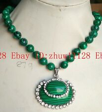 Natural Huge 10mm Green Malachite Gemstone Pendant Necklace 18'' AAA