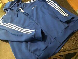 NWT - Mens ADIDAS Royal Blue  Logo Hoody Hooded Sweatshirt Jacket (4XL)