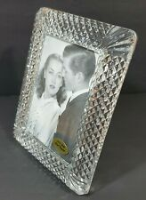 Vtg 24% full lead crystal picture photo frame 5x7 Diamond cut -New West Designs