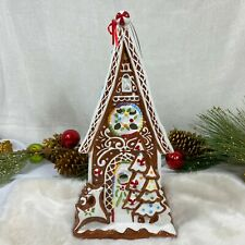 Blue Sky Clayworks Christmas Gingerbread Candle Tea light House Ceramic New 14""