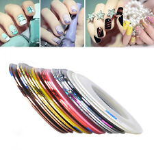 20x Manicure Nail Sticker Gold Silver Line Sticking Striping Tape 20 Mixed Color