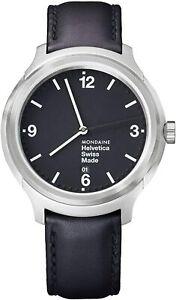 Mondaine Helvetica Bold, Elegant Black Leather Watch for Men&Women MH1.B1220.LB