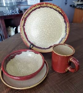 Pier One Pier 1 Crackle Collection 4 piece Dinner Setting Place Setting #1