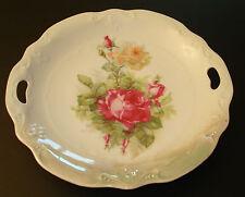 """Antique/Vintage Germany Bavaria 9 1/2"""" Porcelain Plate Pink & Salmon Roses"""